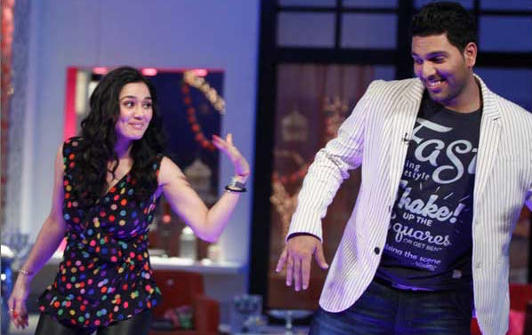 Yuvraj Singh with preity Zinta on a chat show