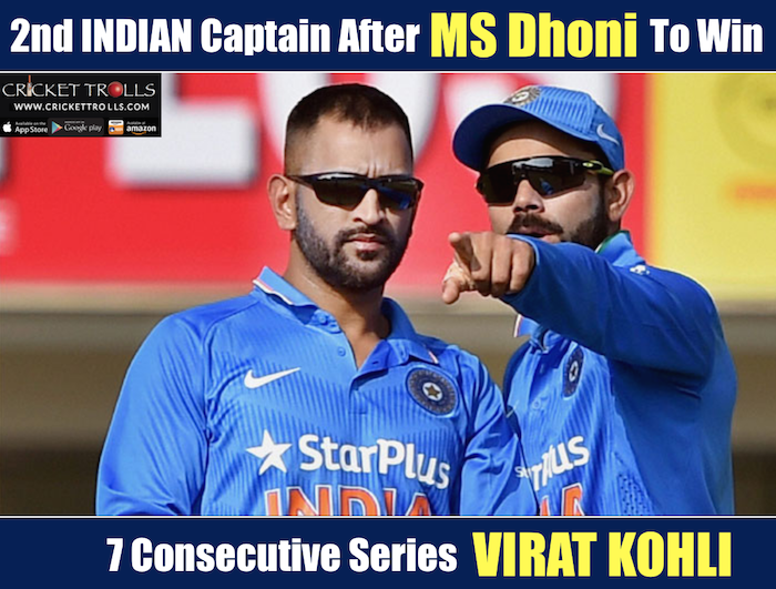 7th consecutive series win for Virat Kohli as a Captain