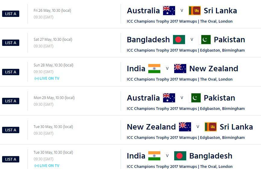Champions Trophy 2017 Warm-up schedule