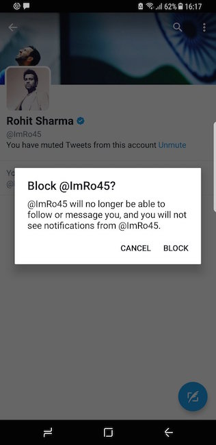 Sofia Hayat blocks Rohit tweet