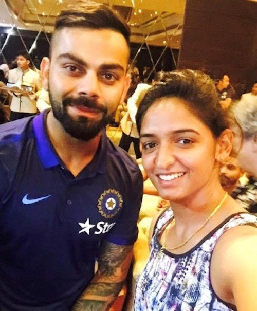 Harmanpreet Kaur with Virat Kohli