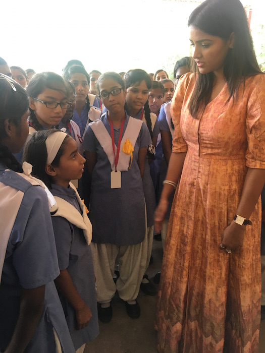 Priyanka Raina interacting with Children