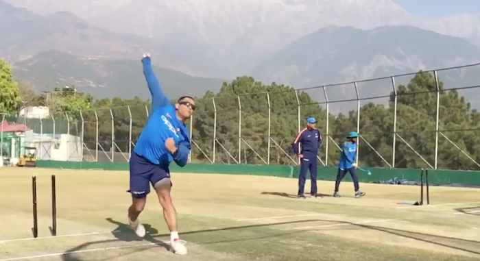 MS Dhoni bowling in the nets