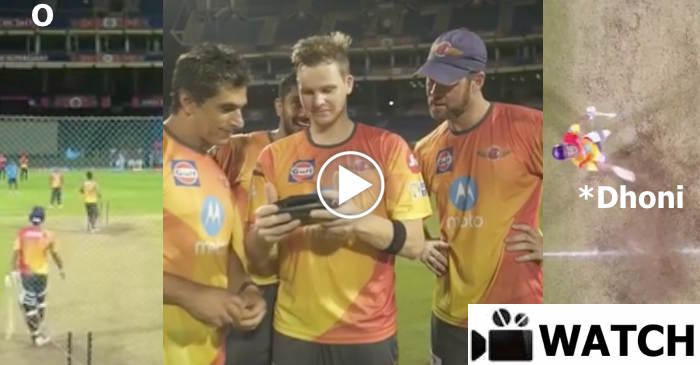 WATCH: Steve Smith captures MS Dhoni hitting a big 6 on his drone camera