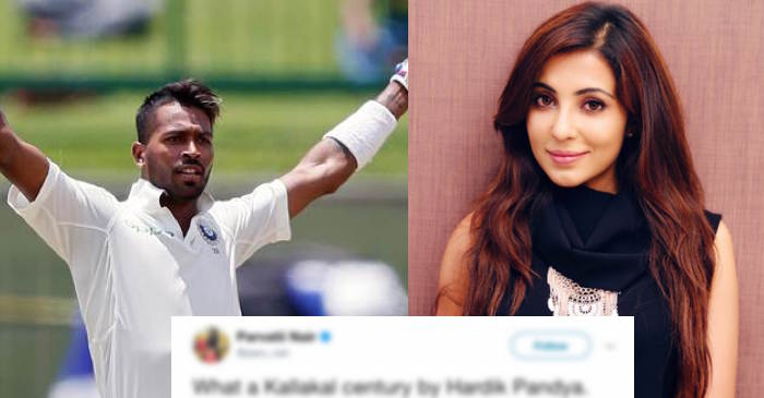 South Indian actress Parvatii Nair bowled over by Hardik Pandya's blistering knock against Sri Lanka