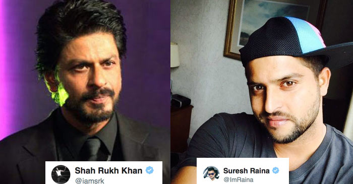 Shah Rukh Khan and Suresh Raina indulge in a lovely Twitter conversation