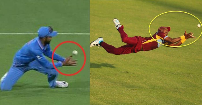 Cricketer taking a catch