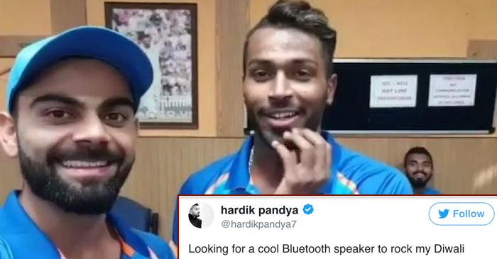 Hardik Pandya asks 'which speakers to buy for Diwali party', Virat Kohli and others reply with options
