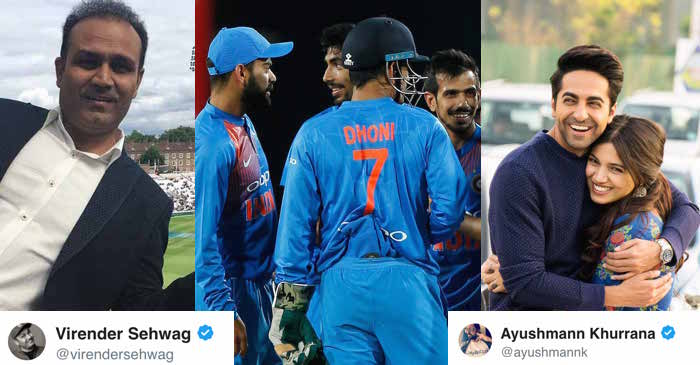 Virender Sehwag, Ayushmann Khurrana & others react as Team India secures an easy win in the first T20I