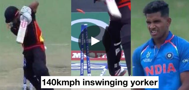 VIDEO: India U-19 pacer Shivam Mavi bowls a perfect yorker to uproot the stumps