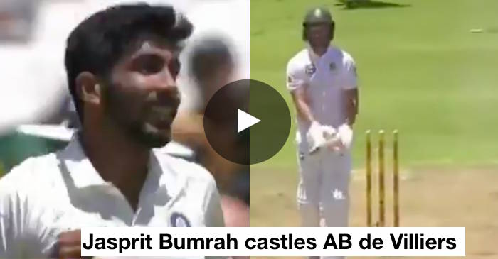 Jasprit Bumrah knocks down AB de Villiers' stumps to get his first Test wicket