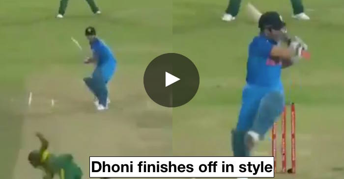 VIDEO: MS Dhoni hits the winning shot in South Africa vs India first ODI