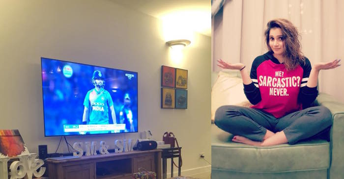 Sania Mirza shared an image watching Team India's game but fans are going gaga over something else