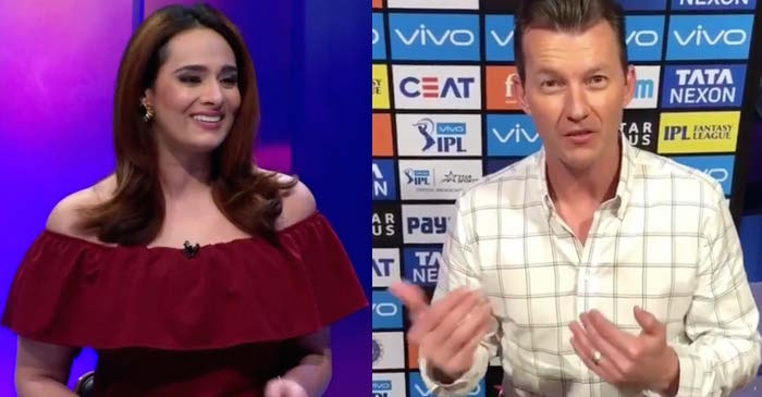 Brett Lee removes his coat during a Live show and IPL anchor Mayanti Langer couldn't stop smiling
