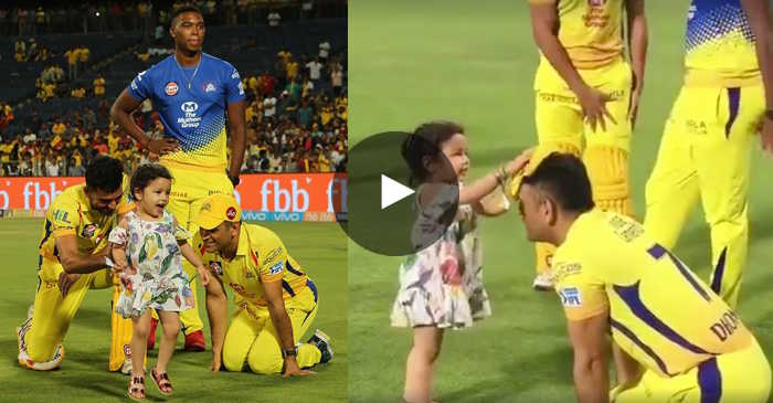 WATCH: Ziva plays with dad MS Dhoni after CSK's thumping win over KXIP
