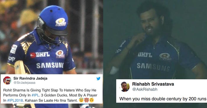 Twitter brutally trolls Rohit Sharma for yet another 'Golden Duck' against Rajasthan Royals