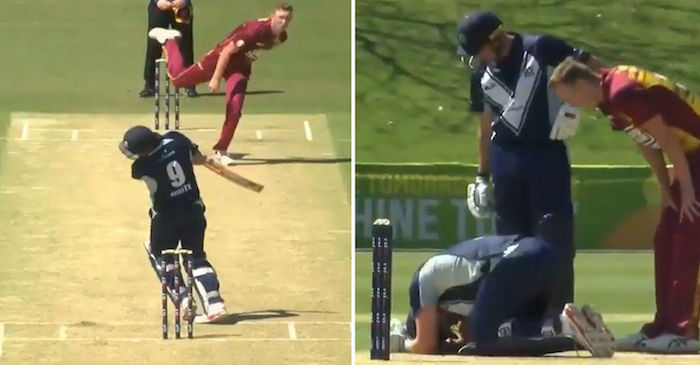 WATCH: Cameron White floored by a dangerous beamer from Billy Stanlake