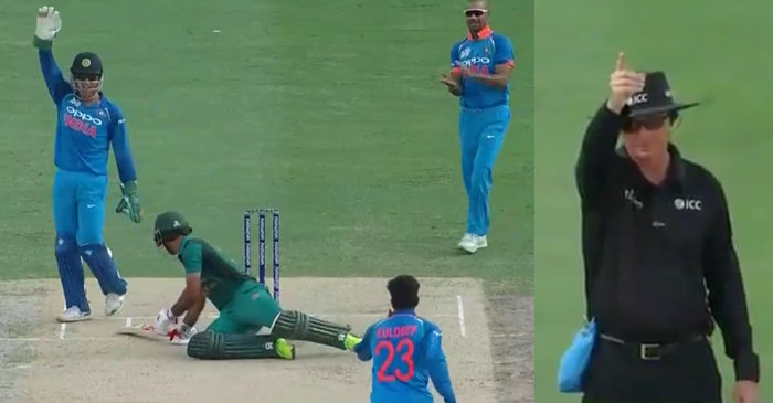 WATCH: Fakhar Zaman trips to fall over, given LBW off Kuldeep Yadav