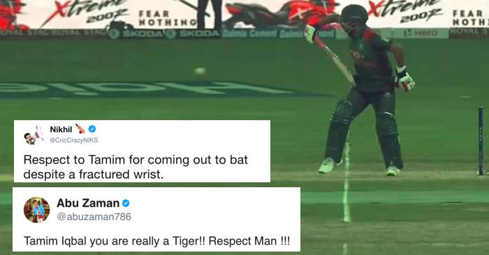 Twitter salutes Tamim Iqbal as he returns to bat with one hand after wrist fracture