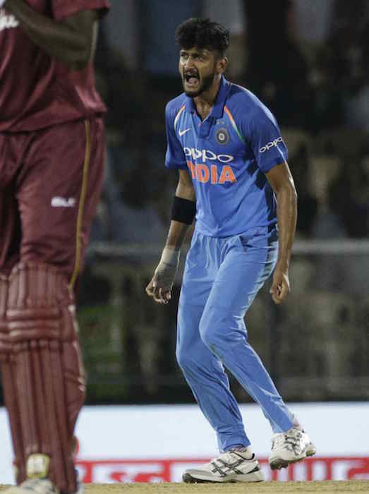 Khaleel Ahmed celebrates the dismissal of Marlon Samuels during the fourth ODI between India and West Indies in Mumbai