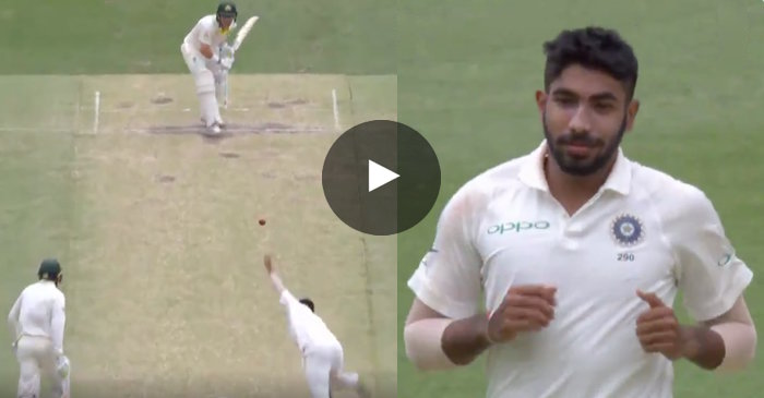 WATCH: Marcus Harris dismissed after leaving a straight delivery by Jasprit Bumrah