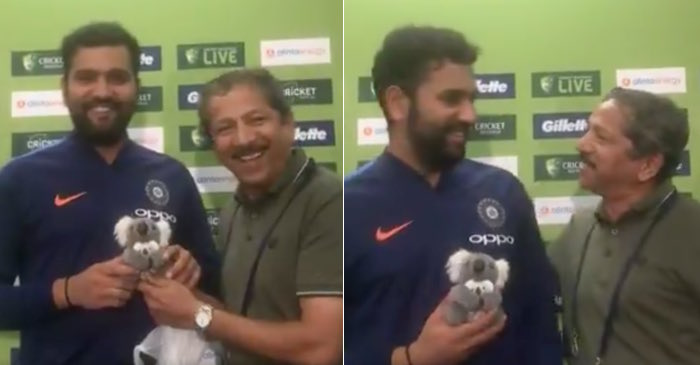 Indian journalist gifts a toy to newly-turned dad Rohit Sharma in Sydney