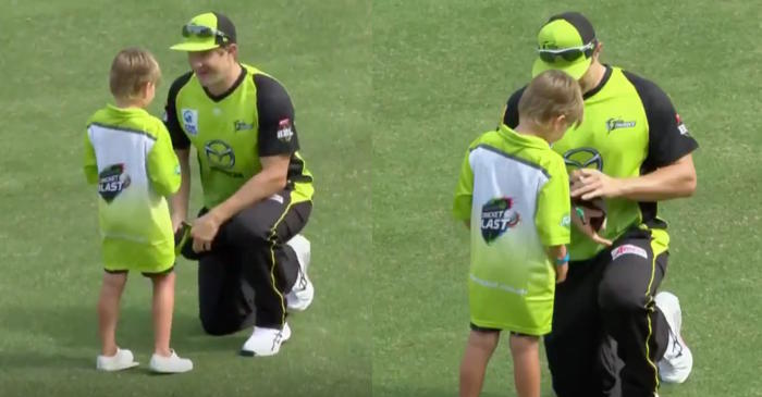 WATCH: Sydney Thunder captain Shane Watson gives an autograph to his son against Adelaide Strikers