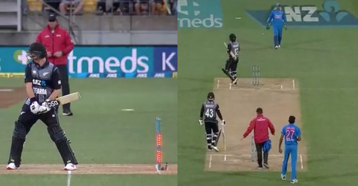 WATCH: Colin Munro starts to walk after bails get dislodged due to wind in Wellington