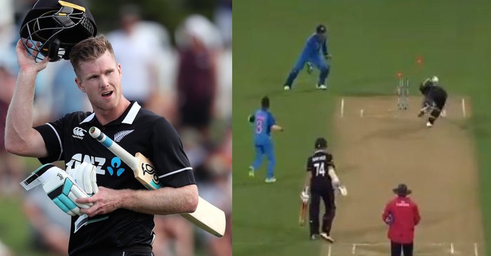 James Neesham banters with fans after being outsmarted by MS Dhoni in Wellington