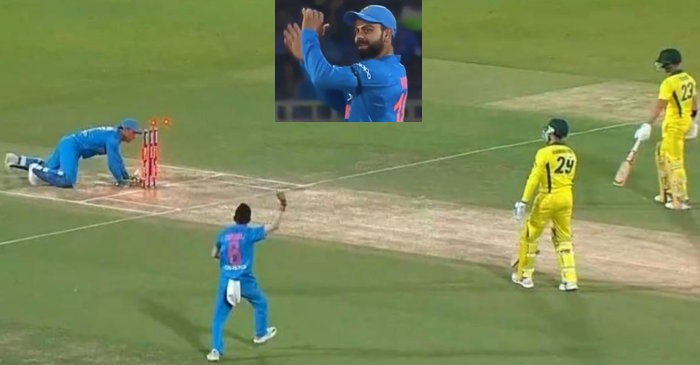 WATCH: MS Dhoni runs two Australian batsmen out on one delivery in Vizag