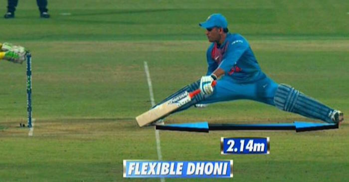 WATCH: MS Dhoni stretches 2.14 metres to save his wicket