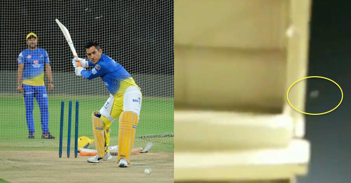 MS Dhoni smashes the ball on the stadium roof