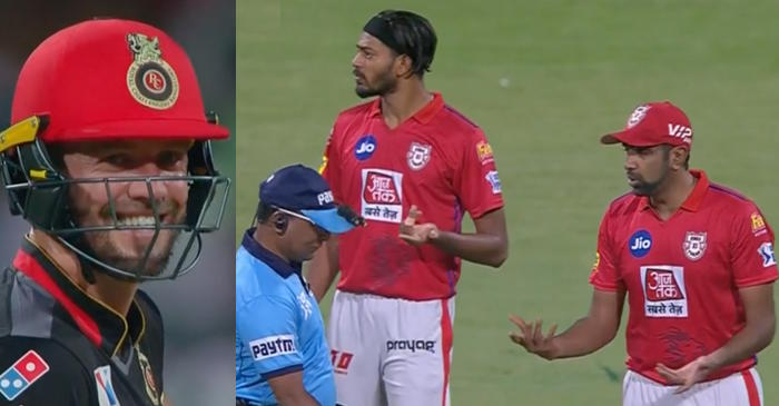 IPL 2019 – WATCH: AB de Villiers, R Ashwin and others react as umpire Shamshuddin hides the ball in his pocket (RCB vs KXIP)