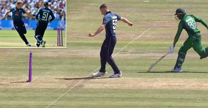 WATCH: Tom Curran produces a brilliant run out with his feet to dismiss Haris Sohail