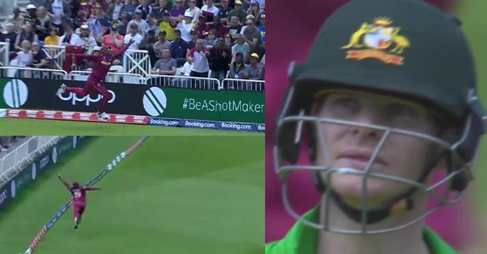 ICC World Cup 2019 – WATCH: Sheldon Cottrell takes a stunning one-handed boundary catch to dismiss Steve Smith