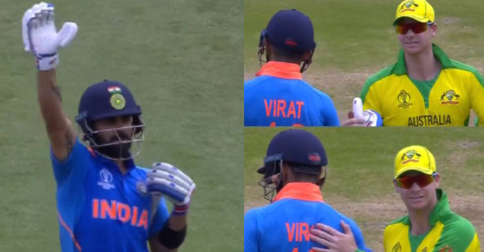 ICC World Cup 2019 – WATCH: Steve Smith thanks Virat Kohli as the Indian skipper stops fans from booing him