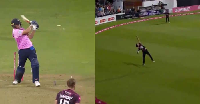 WATCH: Max Waller does a Ben Stokes to dismiss AB de Villers in Vitality T20 Blast