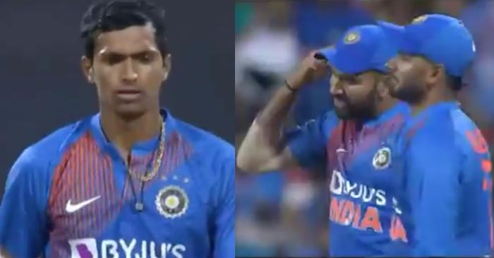 Rohit Sharma gestures Navdeep Saini to use his brain after being smacked for back to back boundaries