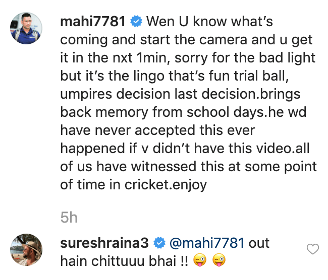 Suresh Raina instagram comment