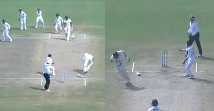 IND vs SA 3rd Test: WATCH – Lungi Ngidi hits the ball on non-striker Anrich Nortje's shoulder, Shahbaz Nadeem completes the catch