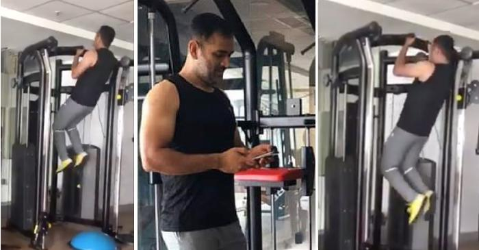 MS Dhoni hits the gym at JSCA Stadium in Ranchi