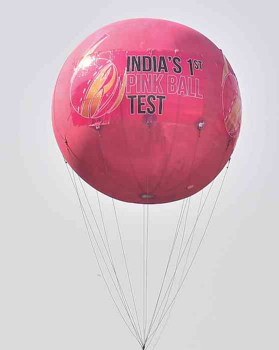 A massive pink air balloon on display at the Eden Gardens