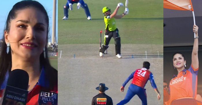 Sunny Leone jumps in joy after Zaheer Khan picks two-wicket in one over during T10 League 2019