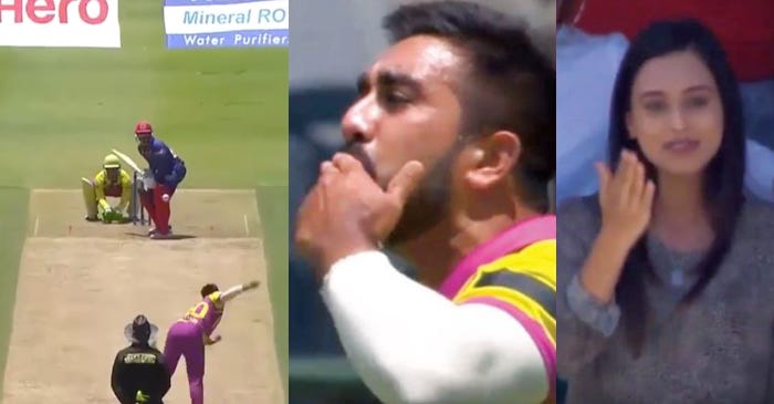WATCH: Tabraiz Shamsi blows a flying kiss to his wife after taking a wicket; she responds as well