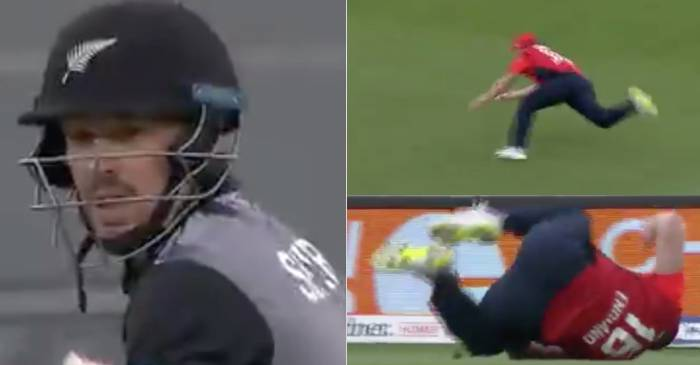 Eoin Morgan takes a screamer as England beat New Zealand in another Super Over