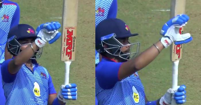 WATCH: Prithvi Shaw's 'My bat does the talking' celebration after smashing fifty against Assam #MushtaqAliT20