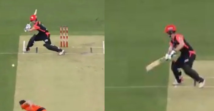 WATCH: Jhye Richardson bowls a delivery outside the pitch; batsman still hits it