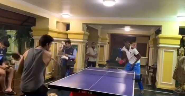 WATCH: Shivam Dube and Jason Holder face each other in Table Tennis ahead of India vs West Indies decider