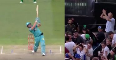 WATCH: AB de Villiers smacks a huge six off Dilbar Hussain at the MCG