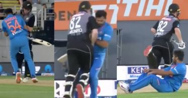 NZ vs IND: Shardul Thakur and Colin Munro barrel into each other during the second T20I at Eden Park
